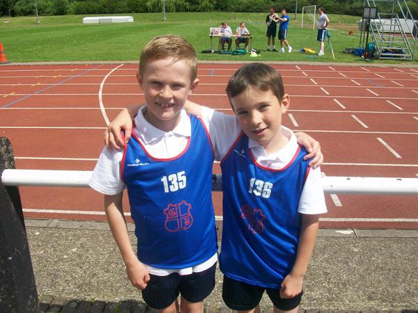 Jack (1st) Connor (2nd) Y3 Boys 65m