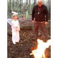 Angel Gabriel mesmerised by the fire.