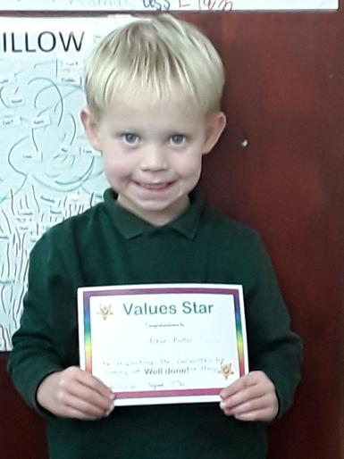 Well done on your certificate for showing respect to the classroom by always tidying up.