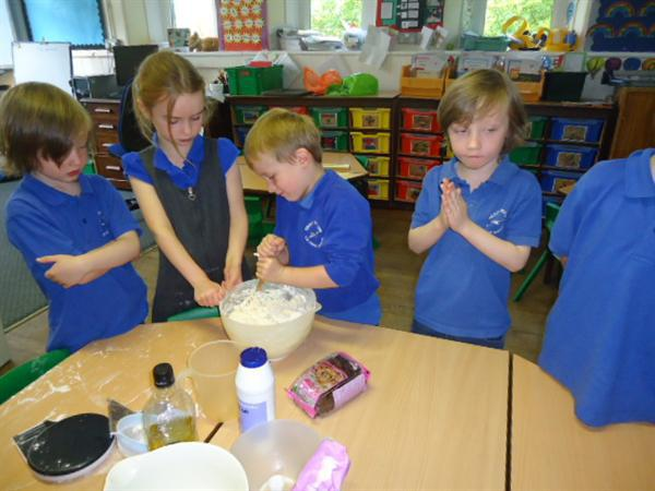 Baking bread to sell at our Harvest auction
