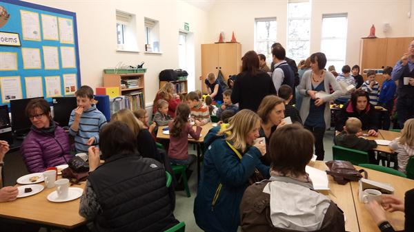 Enjoying the cake sale in aid of Children in Need