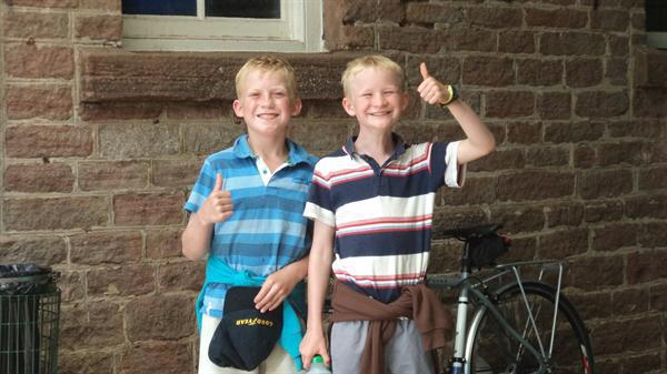 Happy boys enjoying the residential