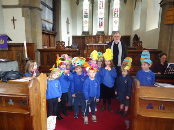 Wearing our Easter bonnets at the church service