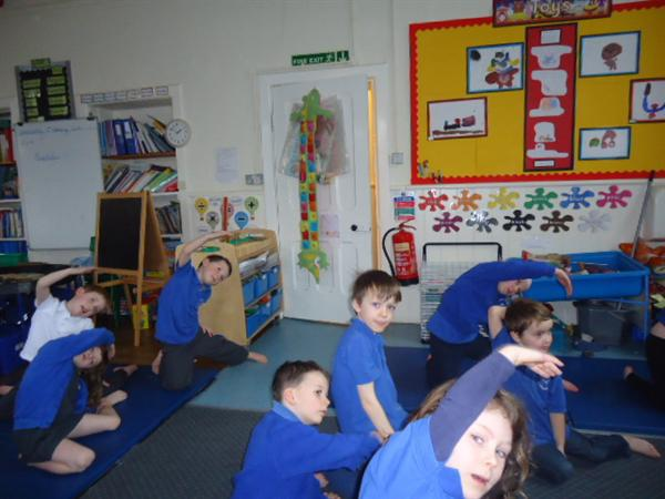 Learning about yoga on RE day