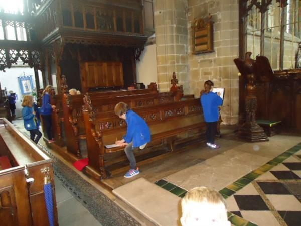 Drawing during our visit to Tideswell Church