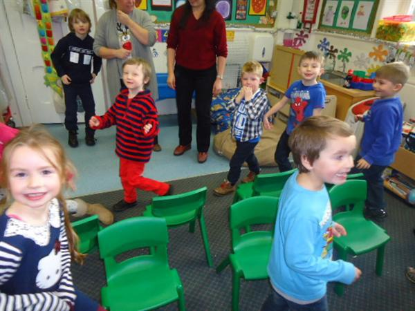 Musical chairs on party day