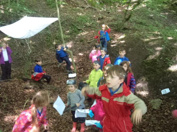 Enjoying a treasure hunt in our woods