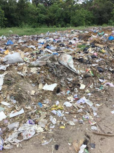 Rubbish outside the school