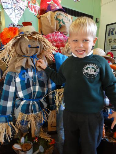 Conrad with his scarecrow in England
