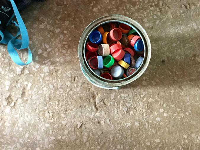 Bottle tops are used for counting in Maths