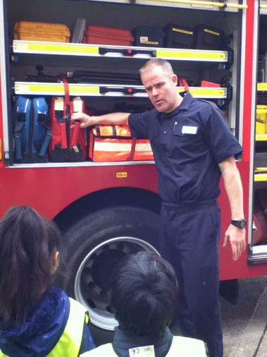 The Firefighter showed us around the fire engine.