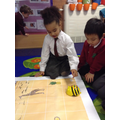 We programmed the Beebot to go to Handa's village.
