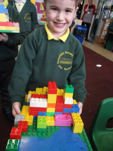 We used the blocks to create the giant's castle