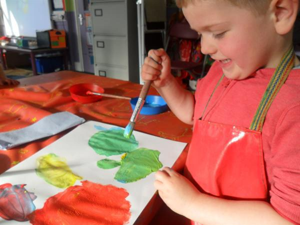 exploring colour mixing to make purple