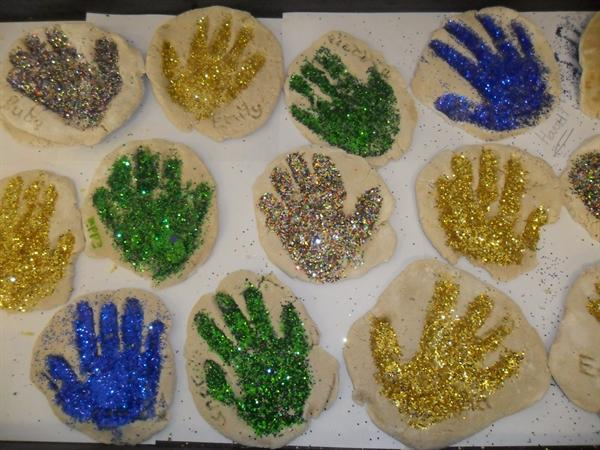 Sand dough glitter handprints