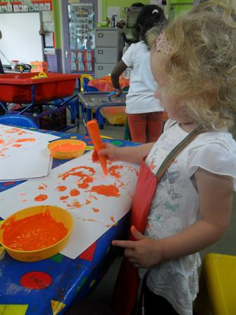 printing with orange fruit and vegetables