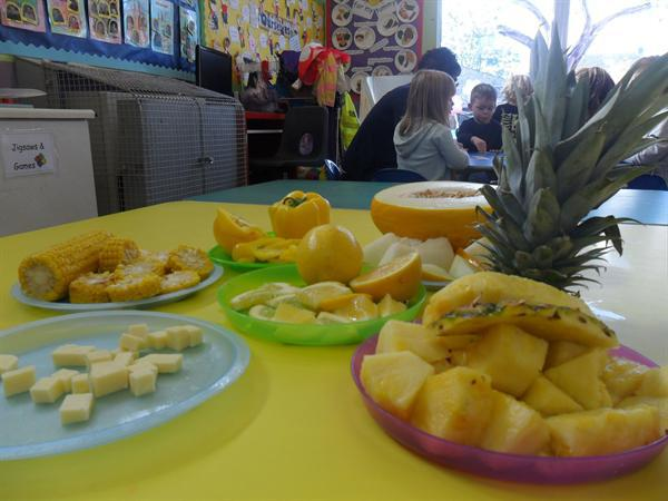 Yellow food tasting