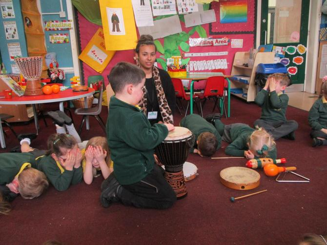 The big drum sounded like giant's footsteps!