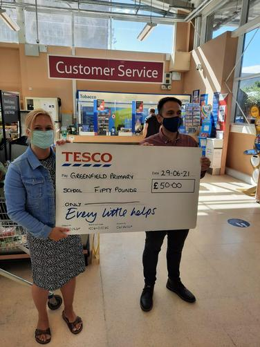 Tesco Donation to Greenfield Primary PTA June 2021