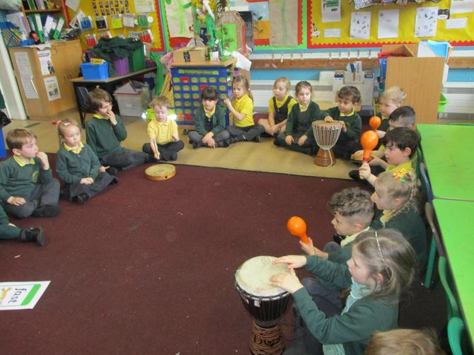 We played our instruments in a rhythm.