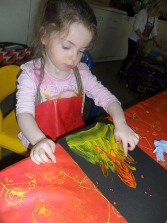 Bonfire finger painting