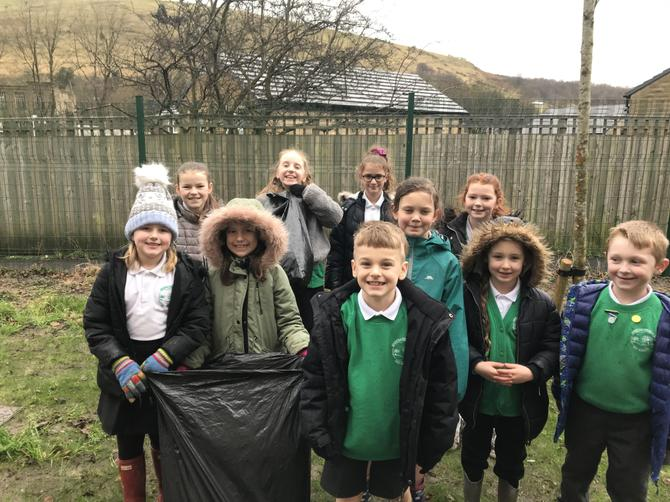 The Eco Council braving the cold weather!