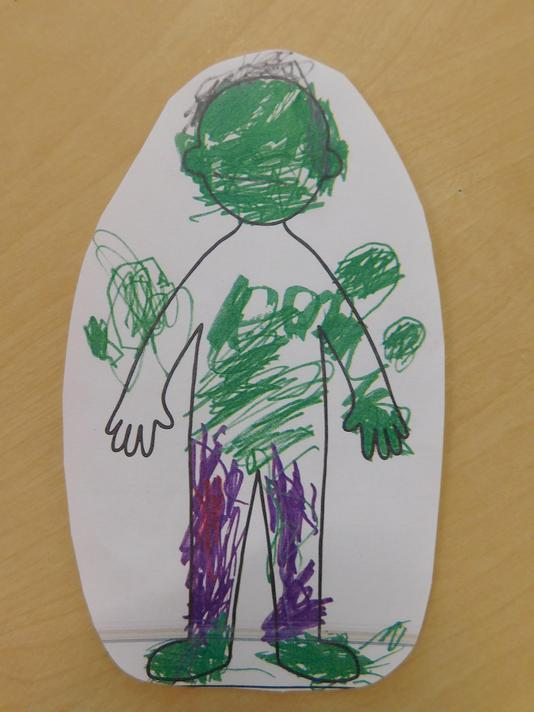 Arley had to add on Hulk's big shoulders and muscles!