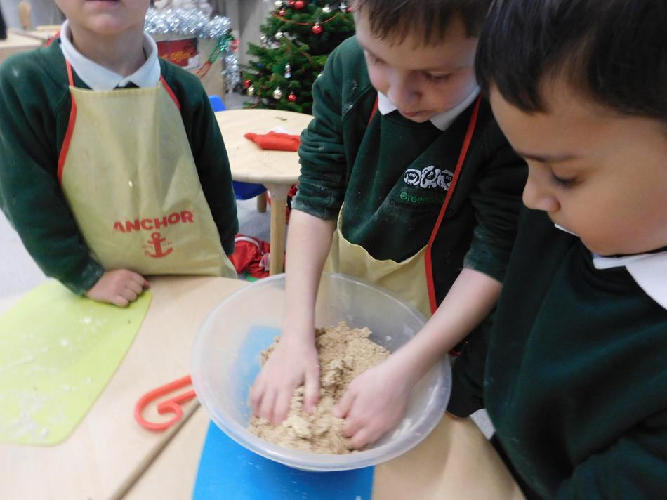 Joe mixing the ginger bread ingredients.
