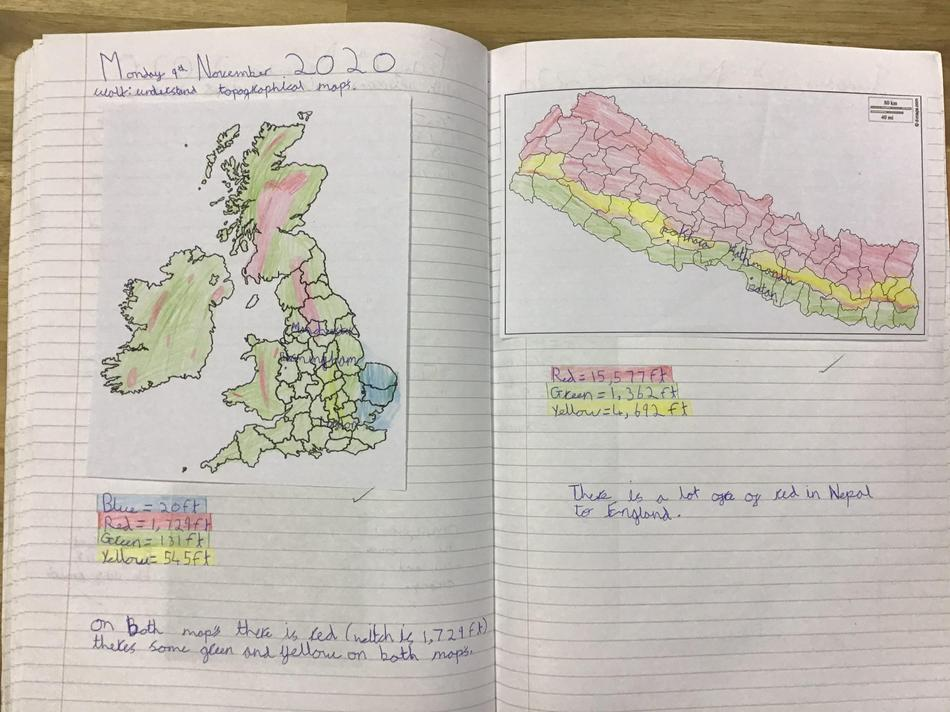 We explored the topography of the UK and Nepal