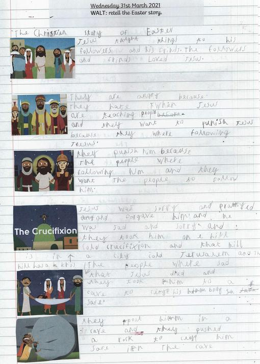 Some children have written lots of detail about the story