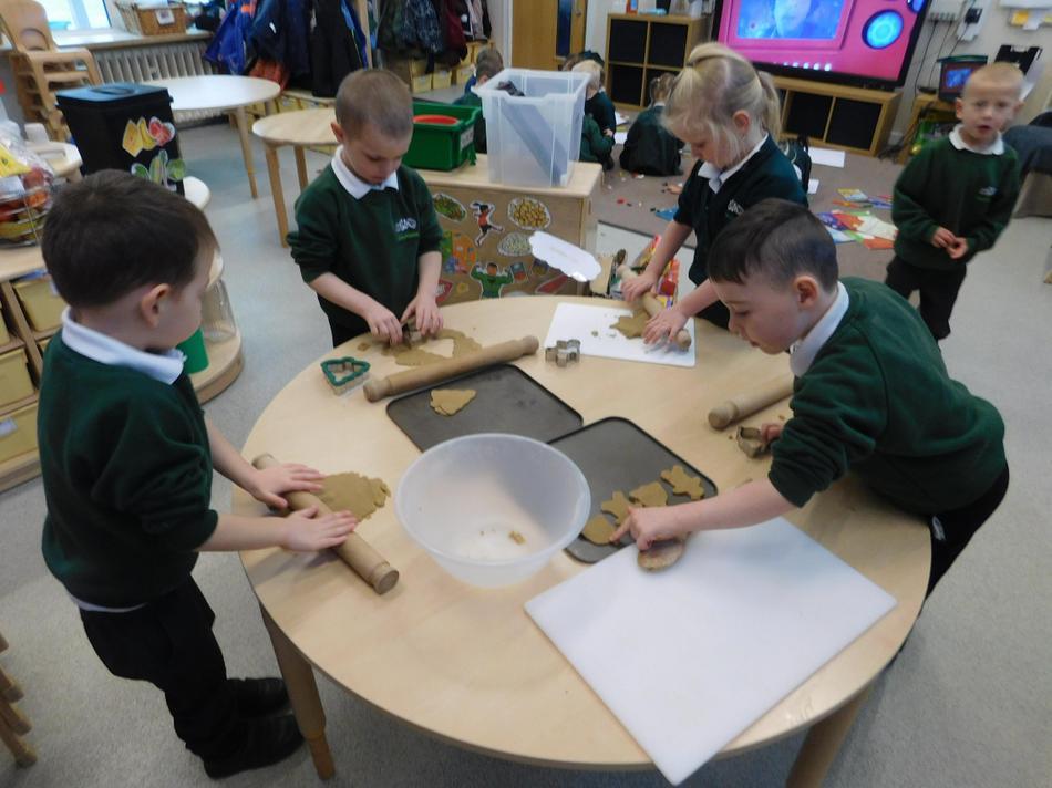 The children enjoy baking.