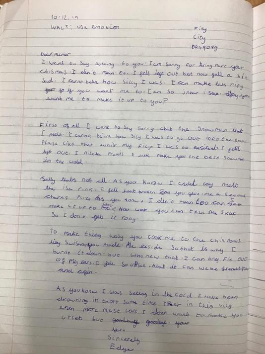 In English we wrote a letter from Edgar -Darcie