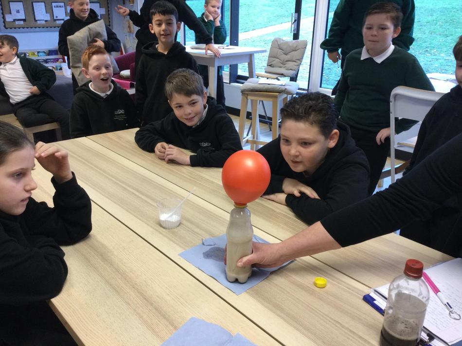 Mining bicarbonate of soda and vinegar was very exciting!
