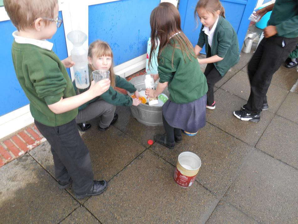 The children enjoyed a carousel of practical activities to explore volume and capacity.