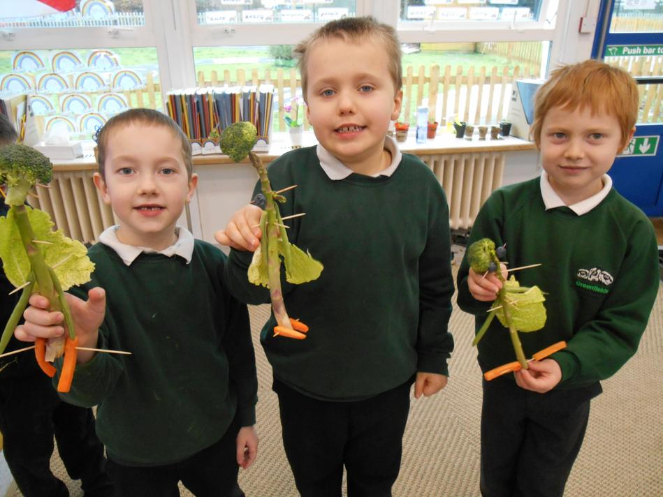 Theo, Aiden and Isaac's 'Veggie' friends created using parts of the plant we can eat.
