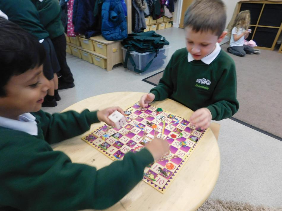 Practising counting and number recognition.