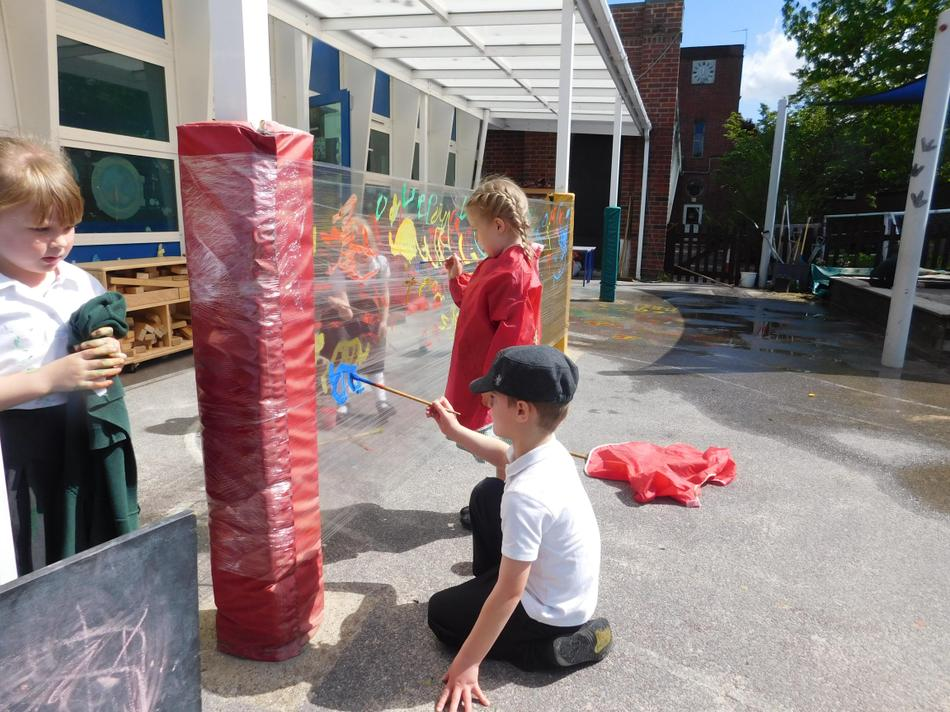 Painting on clingfilm.