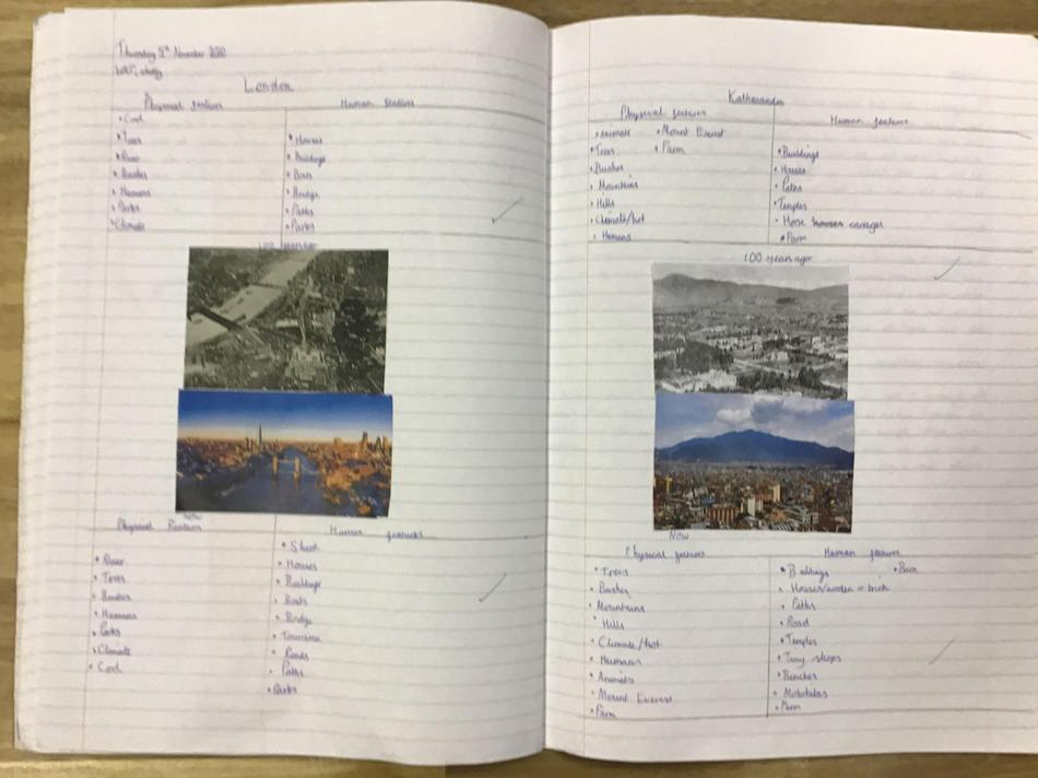 We compared the capital cities London and Kathmandu