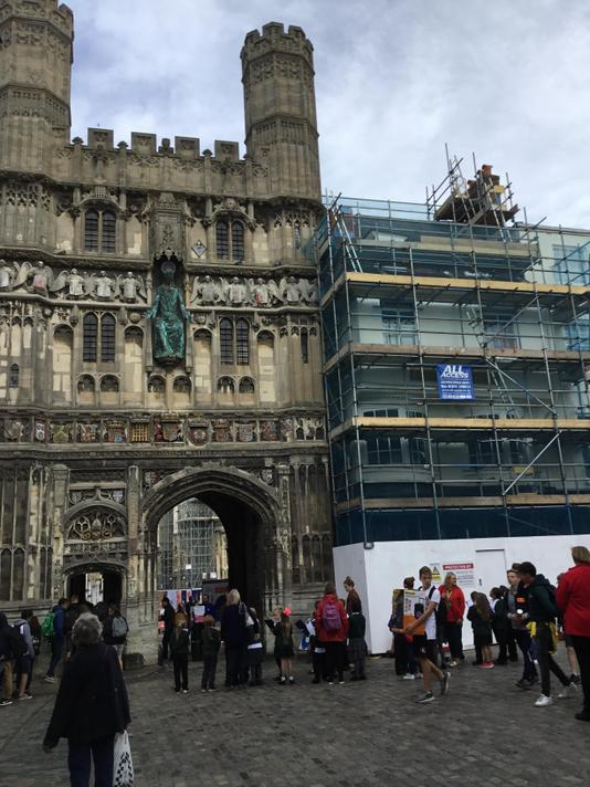 The impressive entrance to Canterbury Cathedral.