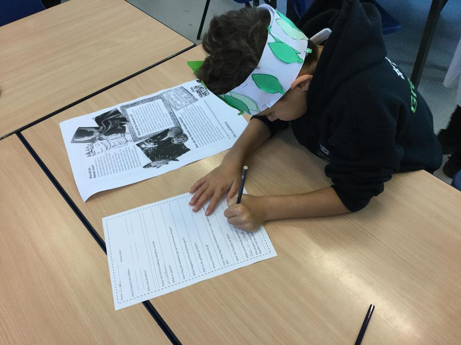 Working hard to find the answers to the quiz questions!