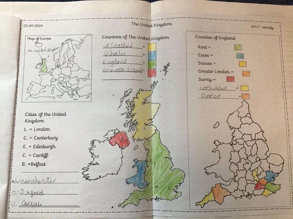 We found out that England is divided into counties.