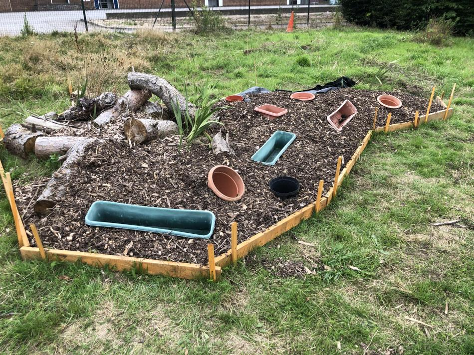 Cover the area with weed fabric and then bark chippings.