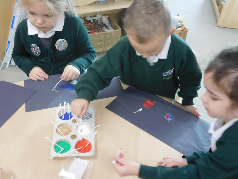 Cotton buds and paint worked well.