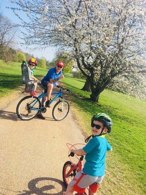 Family bike ride in the sun.