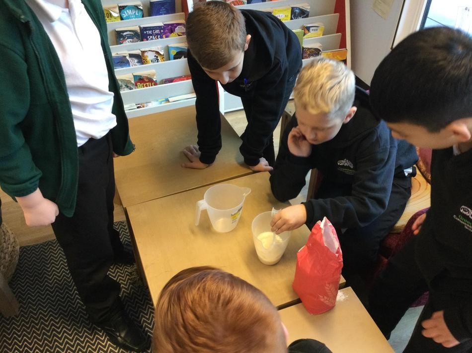 Mixing flour and water...