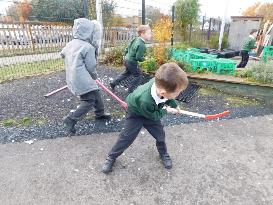 Oscar playing 'ice' hockey.