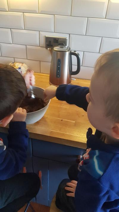 Jack and George baking.