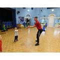 We practised ball skills in PE.