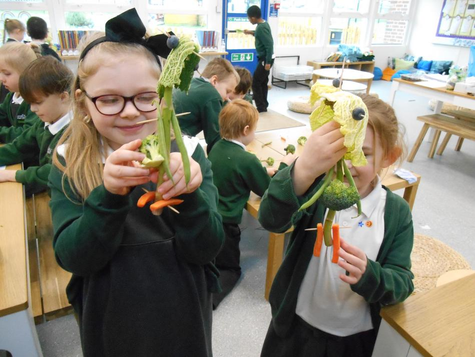 Ruby and Elyse used different parts of a plant that we eat to create a 'Veggie' friend.
