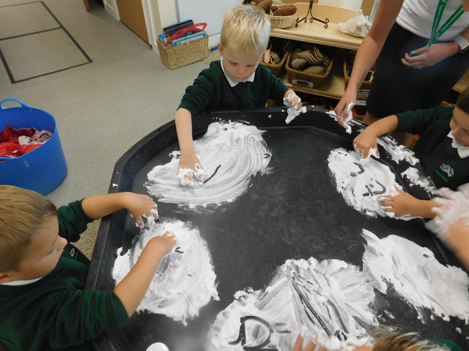 and got messy in shaving foam.